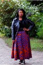 Black-jacket-blue-maxi-skirt-skirt-black-top-maroon-lipstick-accessories