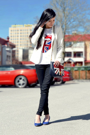 red H&amp;M t-shirt - white white blazer GINA TRICOT blazer