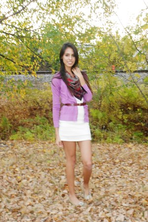 white lace dress - vintage scarf - belt - purple cardigan - flats