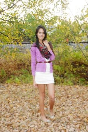 white lace dress - vintage scarf - belt - purple cardigan - flats