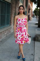 teal peep toe Christian Louboutin heels - hot pink Moulinette Soeurs dress