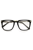 INDIE FASHION LARGE METAL ACCENTED CLEAR LENS WAYFARER GLASSES 9411