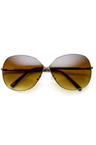 OVERSIZE WOMENS SQUARE METAL FASHION DESIGNER SUNGLASSES 9105