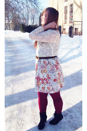 white lace selfmade blouse - ruby red floral selfmade skirt