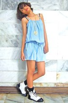 sky blue Urban Outfitters romper - black Dr Martens boots