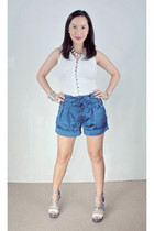 white thrifted blouse - blue Loveculturemultiplycom shorts - white Ebay shoes -