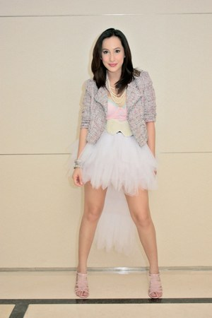 white Ebay skirt - pink Jessica Simpson top - pink Betsey Johnson heels
