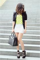 black Zara blazer - white Bershka skirt - chartreuse Forever 21 top