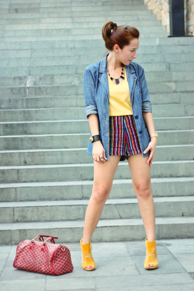 red UO shorts - blue Wet Seal blazer - mustard UO top - mustard UrbanOG heels