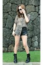 black Ebay boots - black UO shorts - tan Bershka blouse