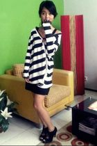 black stripes Online Shop cardigan - black suede ITC Kuningan boots