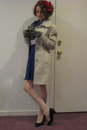 black anne klien shoes - blue H&M skirt - white delias shirt - blue ann taylor s