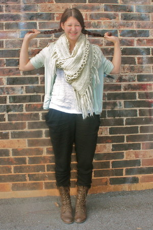 dark brown boots - eggshell plain white tee Rainbiw shirt - ivory scarf