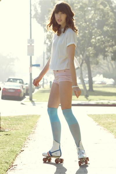 ivory rollar skates vintage boots - sky blue vintage socks