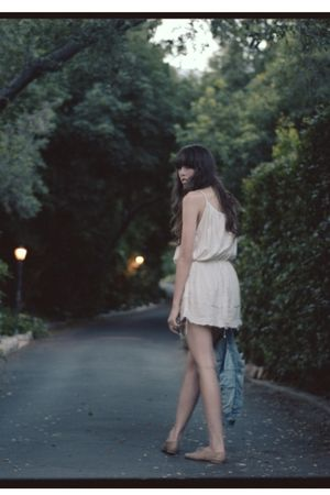 white dress - blue Levis jacket - beige shoes