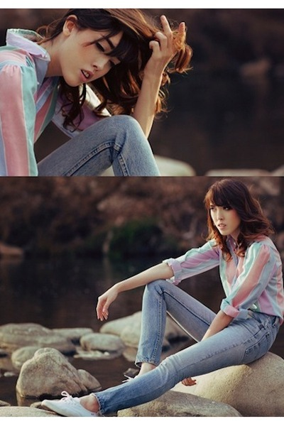 pastel block vintage blouse - light blue altered jeans Levis jeans