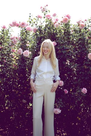 white pinstripe vintage blouse - cream trousers vintage pants