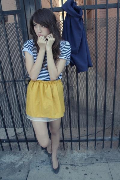 blue striped American Apparel t-shirt - gray vintage shoes - blue ZZC