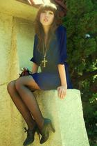 dress - black payless shoes - black sears tights - gold necklace - Yves Saint La