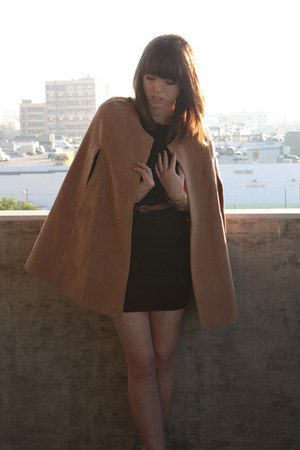 brown vintage belt - black Silence & Noise dress - camel romwe cape