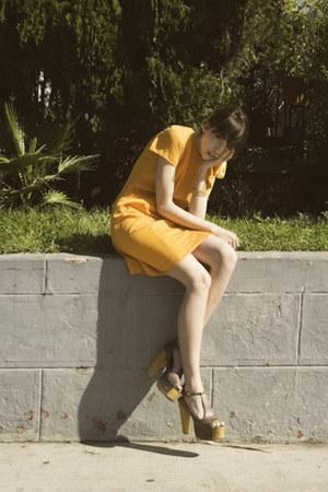 orange vintage scarf - carrot orange vintage dress
