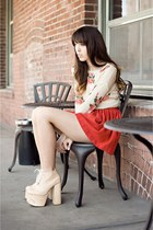 red bubble skirt vintage skirt - peach Deandri boots