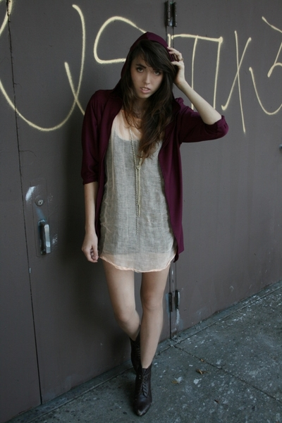 ZZC sweater - pink ZZC dress - black shirt - brown boots - gold necklace
