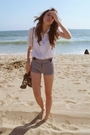 White-blouse-black-forever-21-shorts