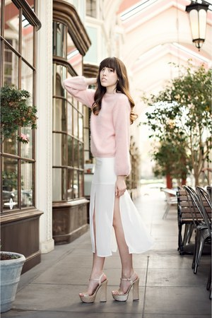 light pink angora H&amp;M sweater - white panels Topshop skirt