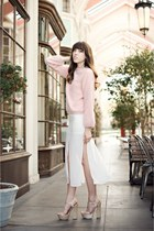 light pink angora H&M sweater - white panels Topshop skirt